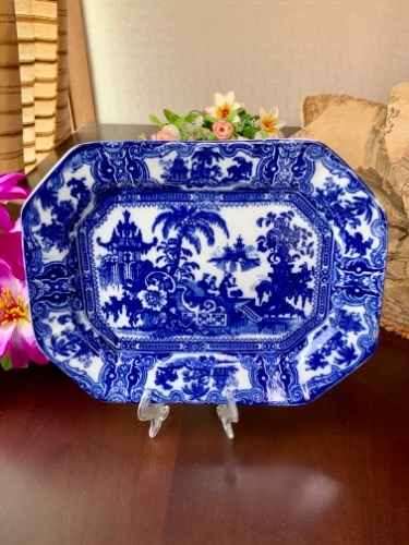 "Adams & Co 플로우 블루 ""Kyber"" 페턴 스몰 플레터 Adams & Co Flow Blue ""Kyber"" Pattern Small Platter circa 1890"