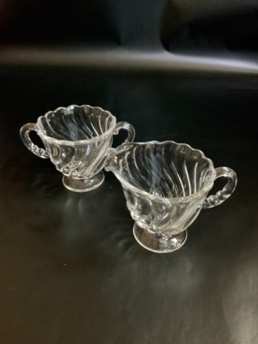 "포스토리아 ""Colony"" 페턴 크리머&슈거 Fostoria ""Colony"" Pattern Creamer & Sugar circa 1950"